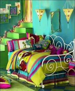 Bedroom decorated in a variety of jewel colours