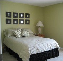 A bedroom decorated in neutral tones