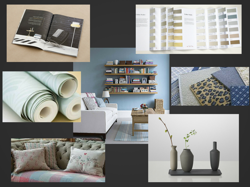 Images of elements of design including paint chart, carpet samples and wallpapers