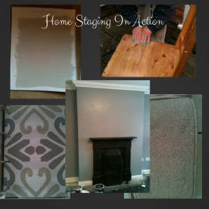 Images of fireplace, carpet, blind and paint samples