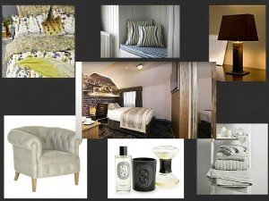 Mood Board showing elements of a boutique hotel including bedding, towels, a chair, lighting