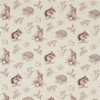 Fabric printed with images of hedgehogs, squirrels and rabbits
