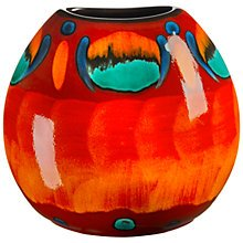 Colourful round shaped vase in orange, yellow and turquoise