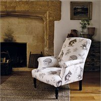 Fabric printed a pencil design of squirrels, rabbits and hedghogs