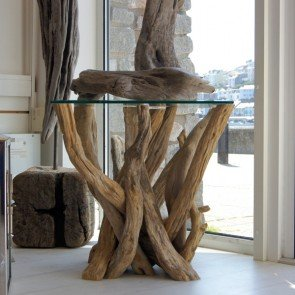 side table made from driftwood with glass top