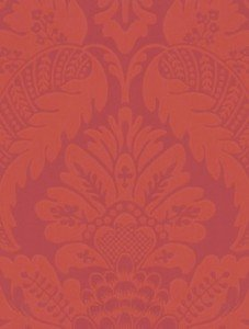 Image of damask style wallpaper in red/ pink