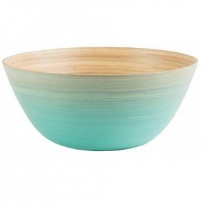 Image of a salad bowl in graded shades of aqua