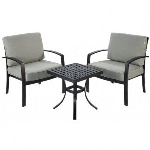 Image of a bistro set comprising upholstered garden chairs with table