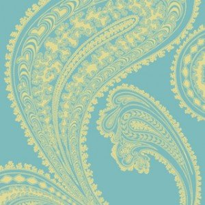 Paisley patterned wallpaper in turquoise and yellow