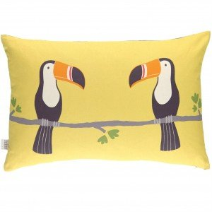 Yellow cushion with image of two toucan