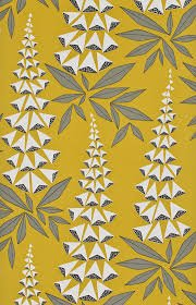 Yellow background fabric with stylistic image of foxglove