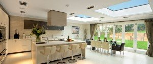 Image of open plan kitchen with skylights