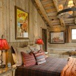 Cosy rustic bedroom in warm colours throws and cushions