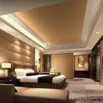 Sleek modern looking bedroom in shades of taupe