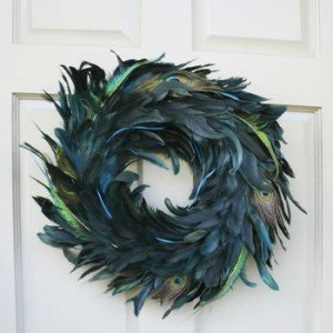 Image of luxurious peacock feather Christmas wreath