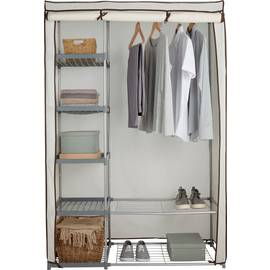 Image of metal framed wardrobe with fabric cover