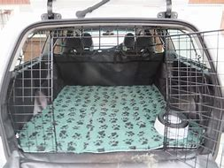 Image of car boot open with dog crate